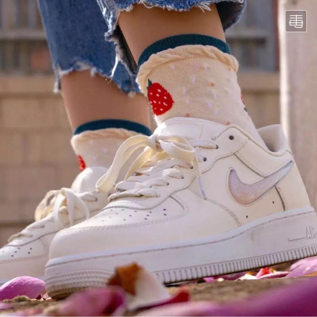 Giày mẫu mới Nike Air Force 1 AF1 Women White Jelly Powder Gradient Low Help Air Force Board
