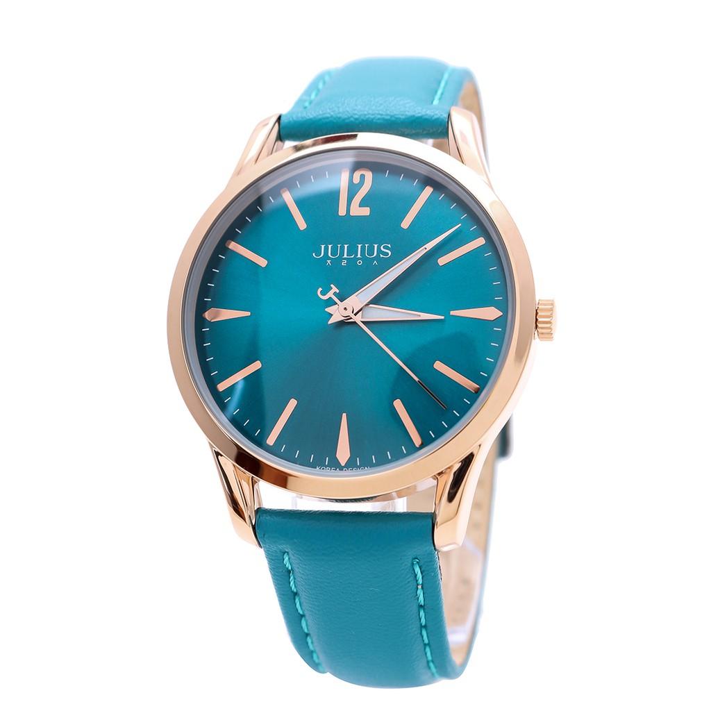 Đồng hồ nam Julius Hàn Quốc JA-983ME dây da (Xanh)