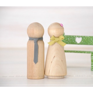 Combo 10 dolls gỗ cao 4,5cm (5 nam + 5 nữ)