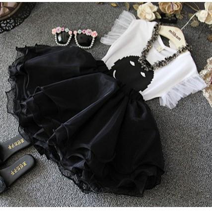 J76 Set váy đen trắng dễ thương