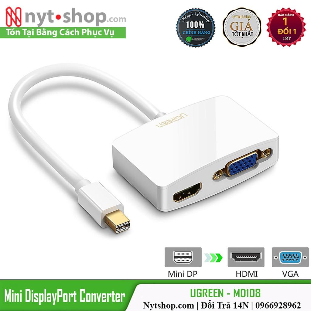 Cáp Mini DisplayPort ra VGA & HDMI 4K Cao Cấp UGREEN MD108 Giá chỉ 420.000₫