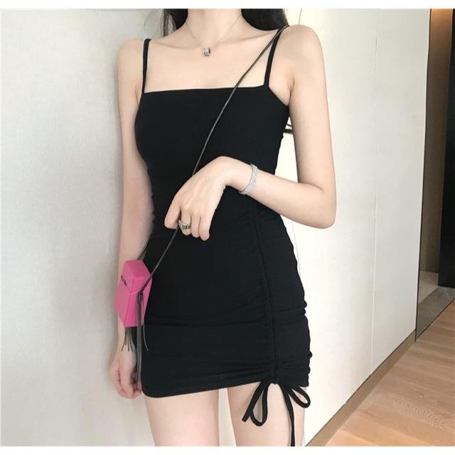 Váy Body 2D Ngang Rút Dây Bên Sang Chảnh - Xưởng Nhung Chuyên Sỉ