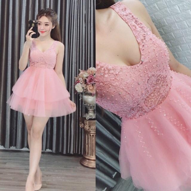 Đầm ren xoè váy lưới đính châu 🍏Ảnh chụp