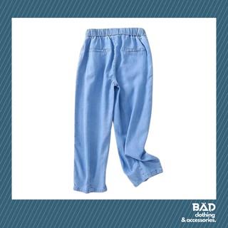 Quần baggy bò giấy - Màu xanh nhạt, chất bò giấy mềm mịn, lưng chun co giãn thoải mái