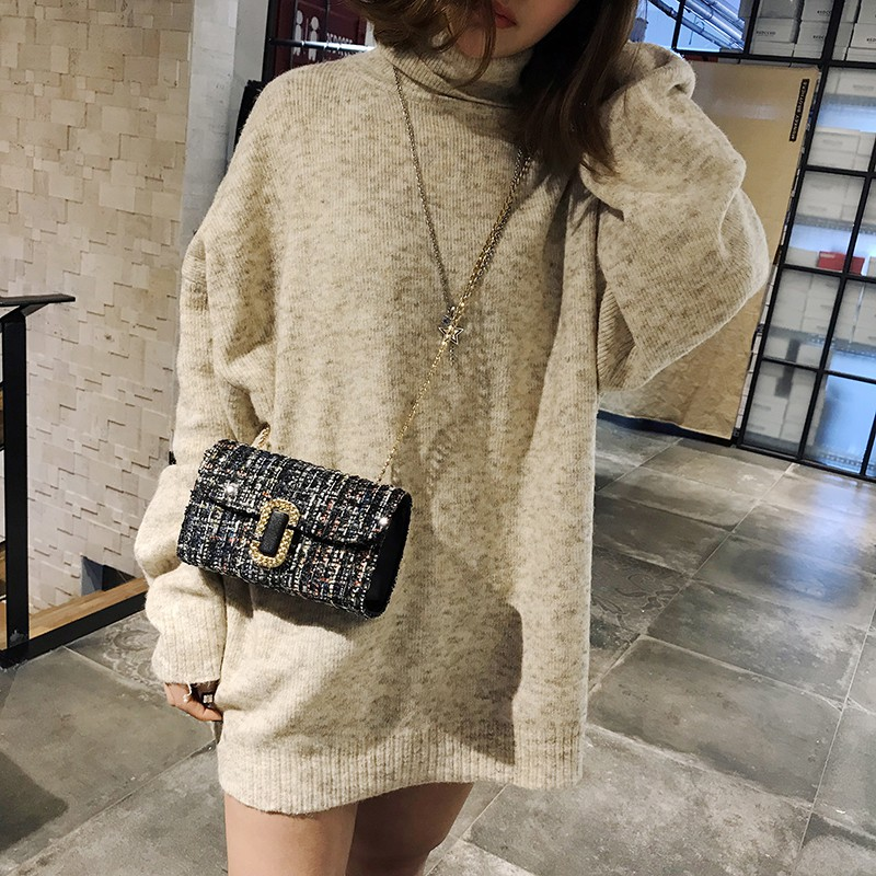Bag 2018 new spring Korean version of the small square chain of small fresh Mes