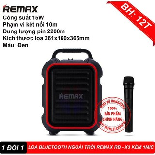 LOA KARAOKE BLUETOOTH NGOÀI TRỜI REMAX RB-X3