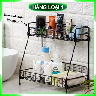 [Bảo Hành – 1 Đổi 1] Kệ để đồ nhà bếp nhà tắm 2 tầng bằng sắt sơn tĩnh điện không gỉ cao cấp