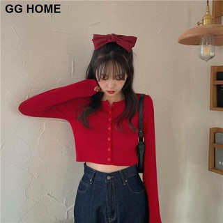 One-piece suit new Korean style slim short top Western red small shirt long-sleeved T-shirt female trendy student