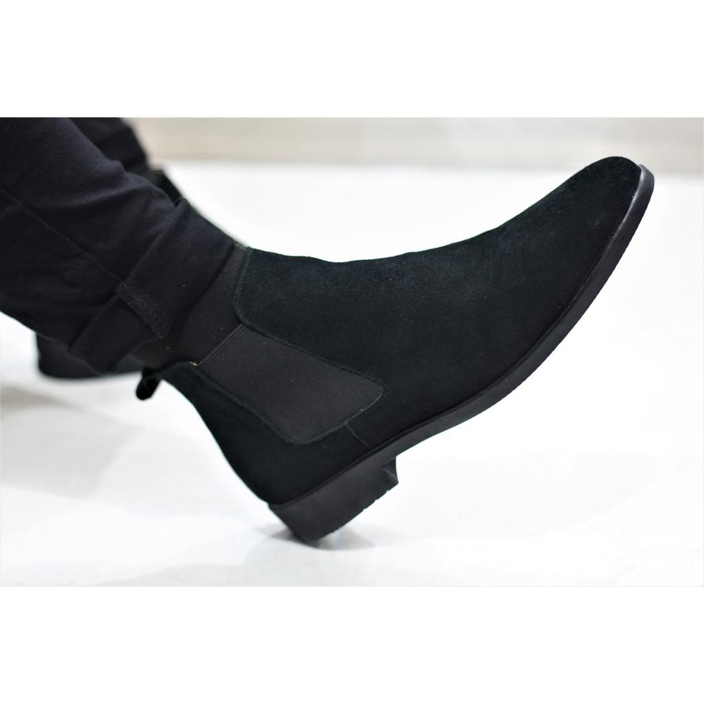 [Giày da nỉ][Tặng tất khử mùi] Giày Chelsea Boot tăng chiều cao gần 5cm- Giày cao cổ nam