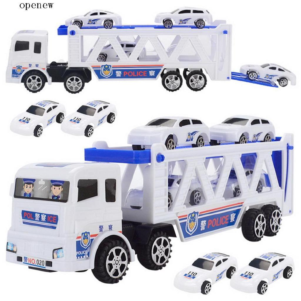 op Double Trumpet Truck with Mini Police Cars Children Kid Toys