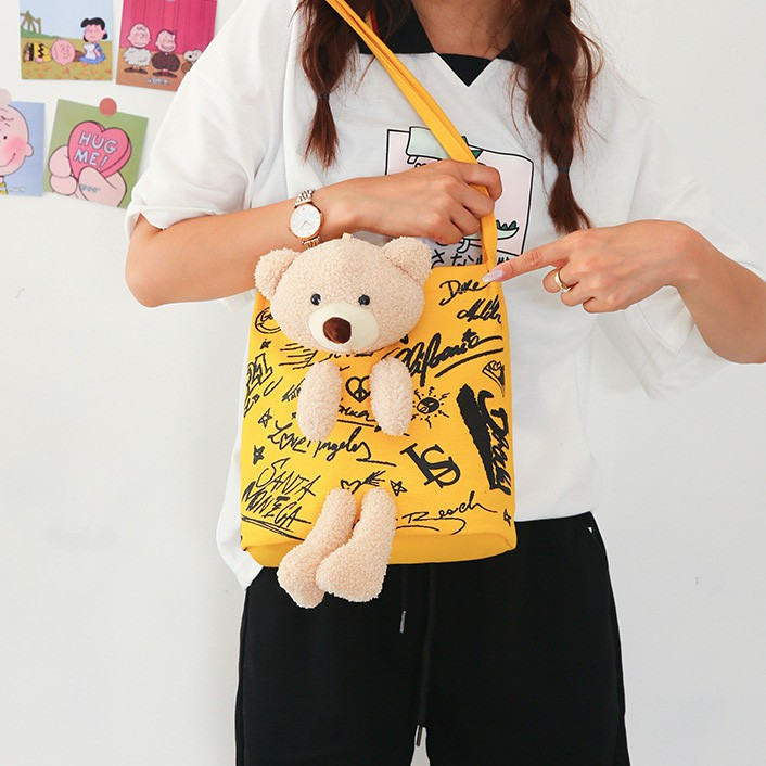 Túi Vải Tote Gấu Bông Phối Chữ Xinh Lạ Korea