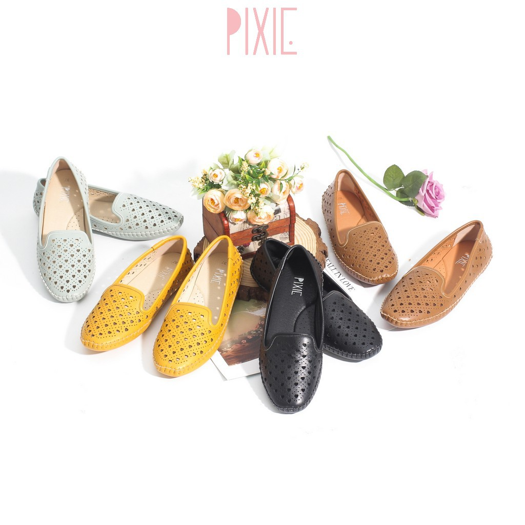 [Mã WABRPX24 giảm 15% đơn 99K] Giày Búp Bê Bệt Đế Âm Da Mềm Cut-out Màu Vàng Pixie P262