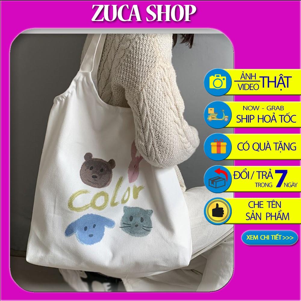 Túi vải Tote Vải Canvas Color họa tiết hình thú dễ thương siêu hot 2020 Zuca Shop