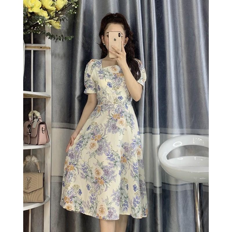 Mặc gì đẹp: Bồng bềnh với Váy hoa nữ 💖FREESHIP💖 Đầm Hoa Dự Tiệc Dáng Xoè Tay Phồng Dễ Thương
