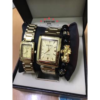Đồng hồ nam nữ HALEI cặp đôi vuông dây kim loại dây vàng mặt vàng - TẶNG 1 vòng tỳ hưu