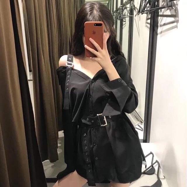 [Sẵn L] Váy trễ vai kèm thắt lưng ulzzang