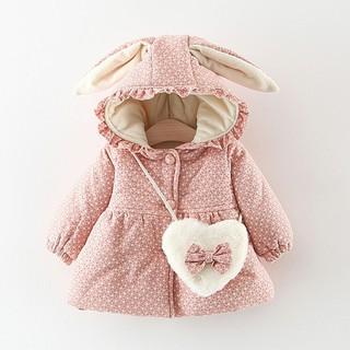 Set áo khoác tai thỏ dày giữ ấm phối túi đeo chéo dễ thương cho bé gái