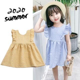 Váy hở lưng cô gái mùa hè nhỏ tay áo bay cotton và vải lanh kẻ sọc