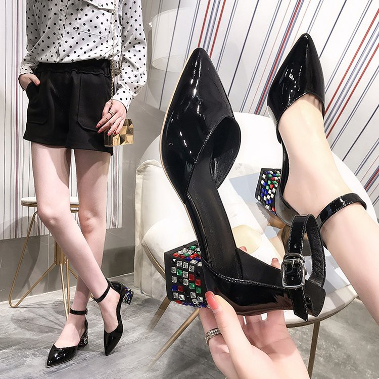 Thick and pointed women's shoes with wild rhinestones with a buckle sandals high heels single shoes