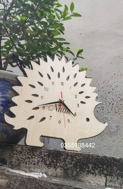 [ Siêu Rẻ] Đồng hồ Treo tường decor con nhím chữ Nhẫn