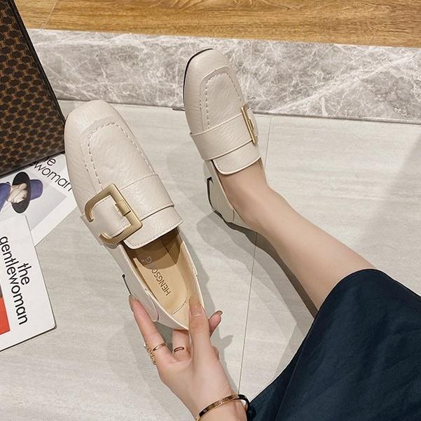 Giày đế bằng mũi tròn thời trang phong cách Hàn Quốc cho nữ