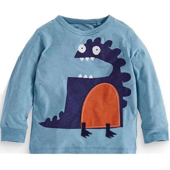 Áo phông dài tay bé trai cao cấp Malwee hoạ tiết khủng long