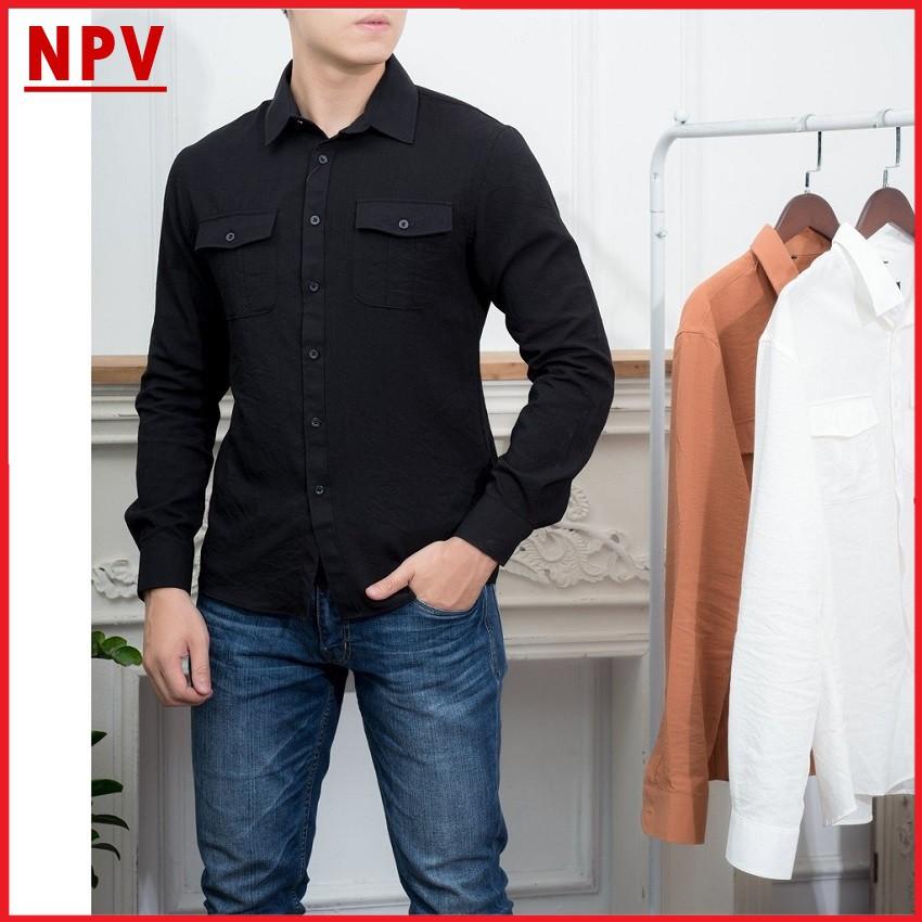 Áo sơ mi đũi NPV thời trang nam,áo sơ mi nam cao cấp phong cách nam tính 3 màu