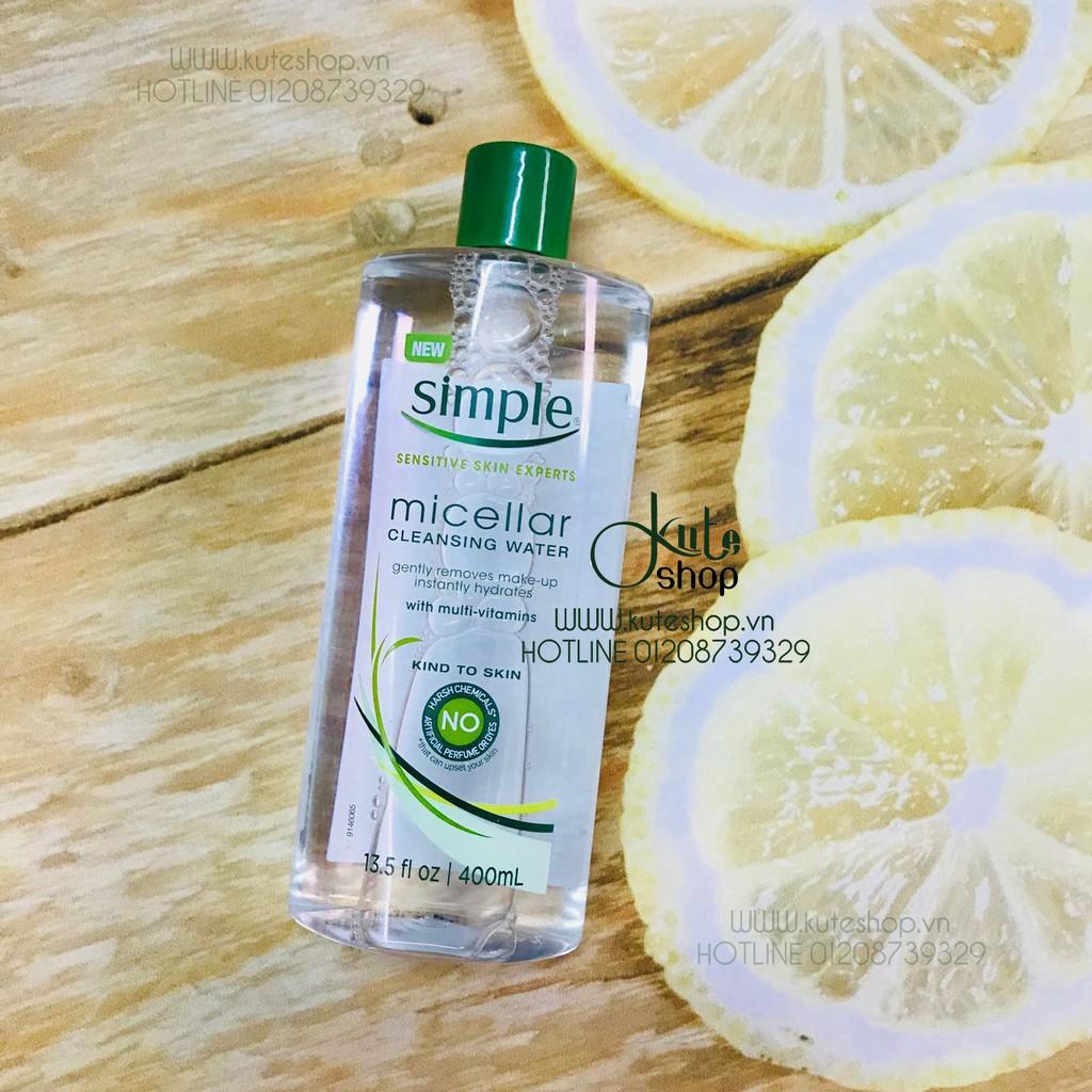 {Hàng Mỹ SX 04/17) Nước tẩy trang cho da nhạy cảm/da khô Simple Micellar Cleansing Water 400ml - 2852122 , 791910527 , 322_791910527 , 270000 , Hang-My-SX-04-17-Nuoc-tay-trang-cho-da-nhay-cam-da-kho-Simple-Micellar-Cleansing-Water-400ml-322_791910527 , shopee.vn , {Hàng Mỹ SX 04/17) Nước tẩy trang cho da nhạy cảm/da khô Simple Micellar Cleansing