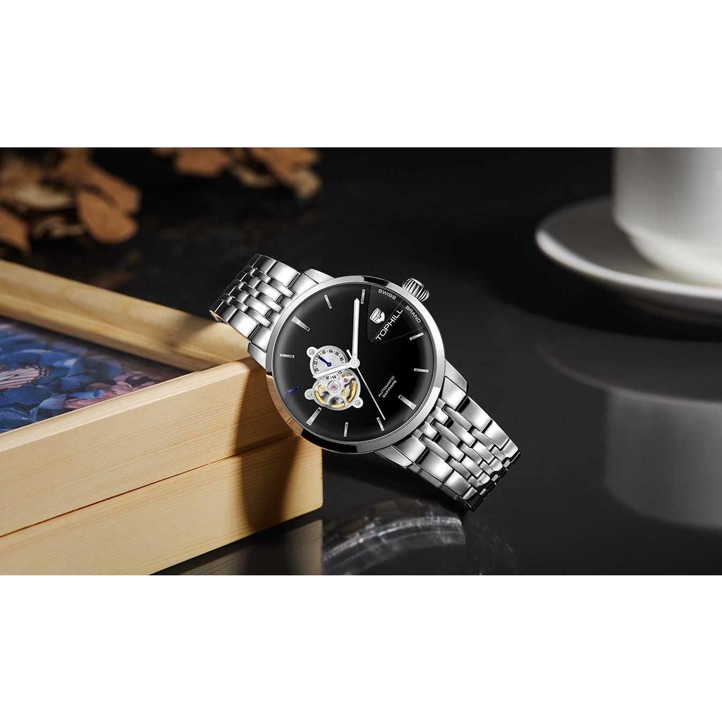 Đồng hồ nam chính hãng TOPHILL TW083G.S1158 - Dây thép - kính Saphire