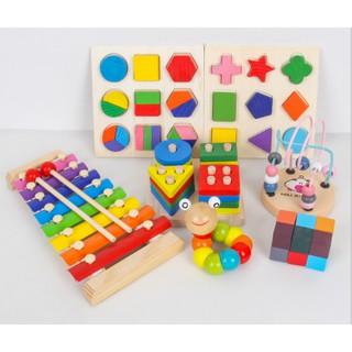 Đồ chơi gỗ set 7 món, đồ chơi gỗ thông minh, đồ chơi Montessori