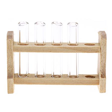 HW Mini Wood Test Tube Rack Emulational Model Decoration for Dollhouse