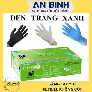 (Q1-HCM) Găng tay y tế VietGlove Bao Tay Y Tế Nitrile Không Bột Bao Tay Cao Su Màu Đen Không Có Bột (Đủ Màu) thumbnail