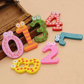 ☎10Pcs Wooden Fridge Magnet Number 0-9 Kids Educational bauble Set