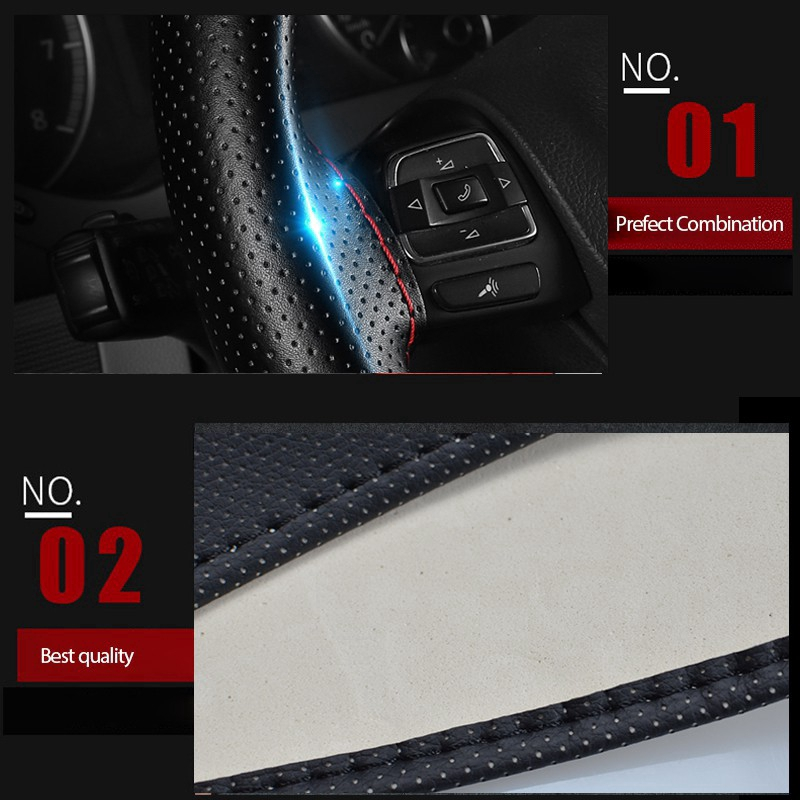 38cm DIY Car Steering Wheel Cover Leather Driving Car-covers For
