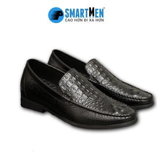Giày Lười tăng chiều cao Da bò SMARTMEN GLS-01 Đen thumbnail