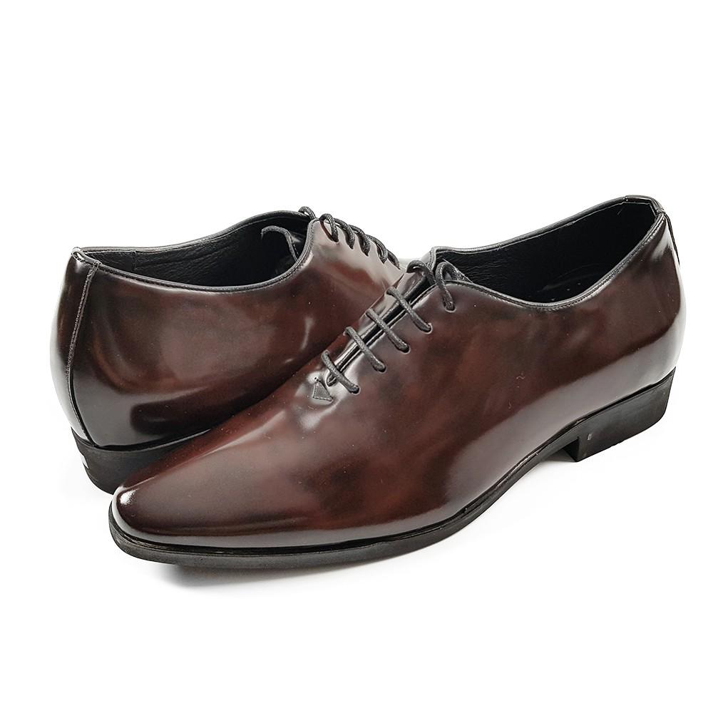 Giày công sở nam tăng chiều cao 6cm da bò thật (da trà) VNXK CS56N