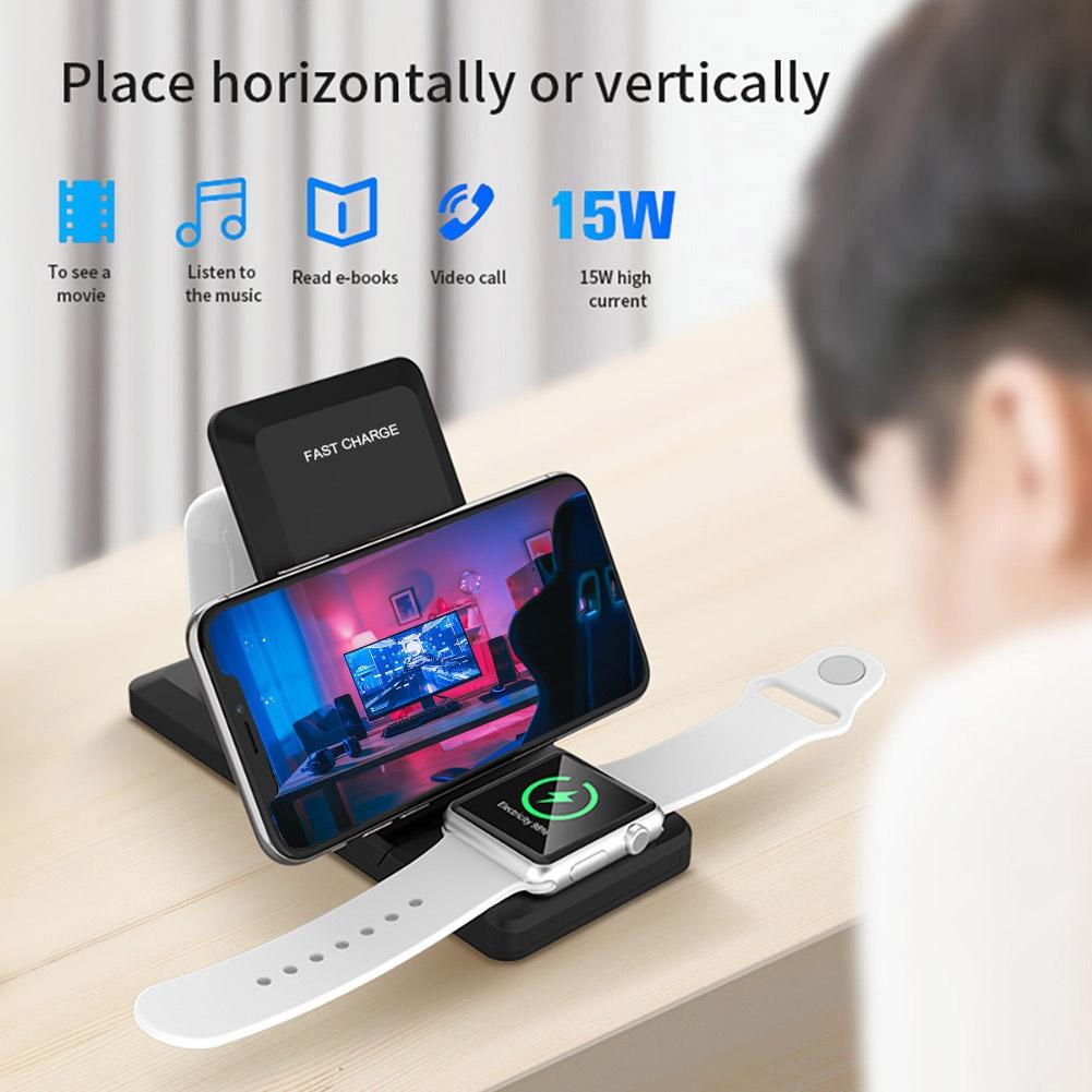 Đế Sạc Nhanh Không Dây 15w Qi Cho Apple Watch 5 4 Apple Airpods Pro