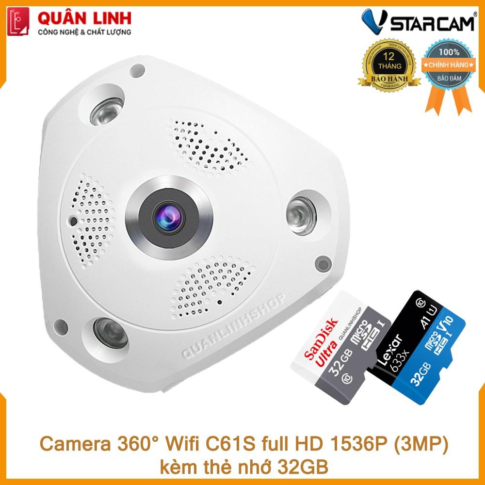 Camera Wifi IP Vstarcam C61s Full HD 1536P ốp trần, góc rộng 360 độ kèm thẻ 32GB