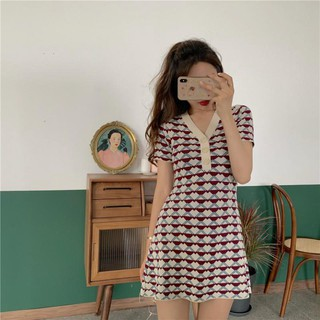 Women Casual Slim Fit V-Neck Plaid Printed Short Sleeve High Waist Dress