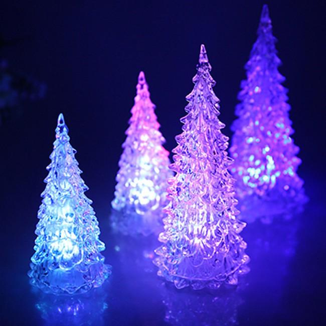 Mini 7 Colors Change LED Crystal Christmas Tree Shape Night Light Toy Decor