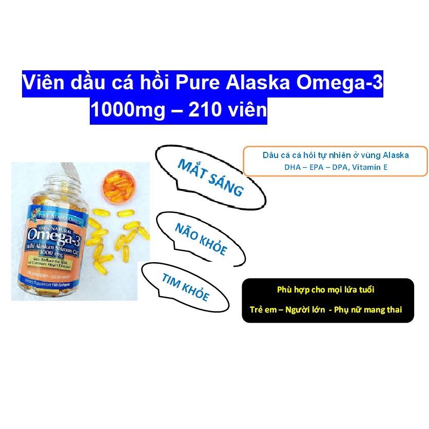 Dầu cá hồi Pure Alaska Omega-3 Wild Salmon Oil 1000mg 180V của Mỹ