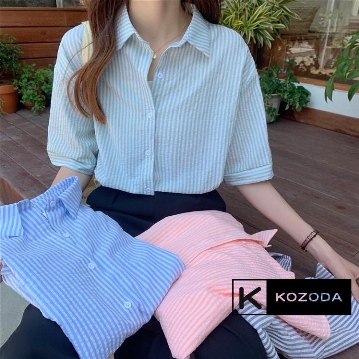 Mặc gì đẹp: Lịch sự với Áo Sơ Mi nữ form rộng Ngắn Tay Công Sở Chất Xốp Kẻ Sọc dễ mặc 4 màu phong cách Hàn Quốc Kozoda SM41