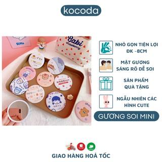 [Quà Tặng] Gương mini cầm tay Kocoda hoạ tiết hoạt hình - Gương mini hình tròn tiện lợi