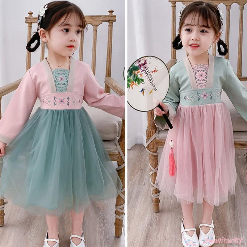 Đầm bé gái tay dài phối lưới thêu hoa phong cách Trung Quốc