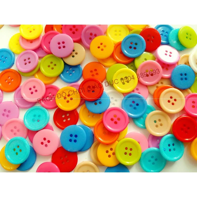 Cúc áo, khuy nhựa, cúc nhựa, khuy áo tròn nhiều màu kích thước 2cm