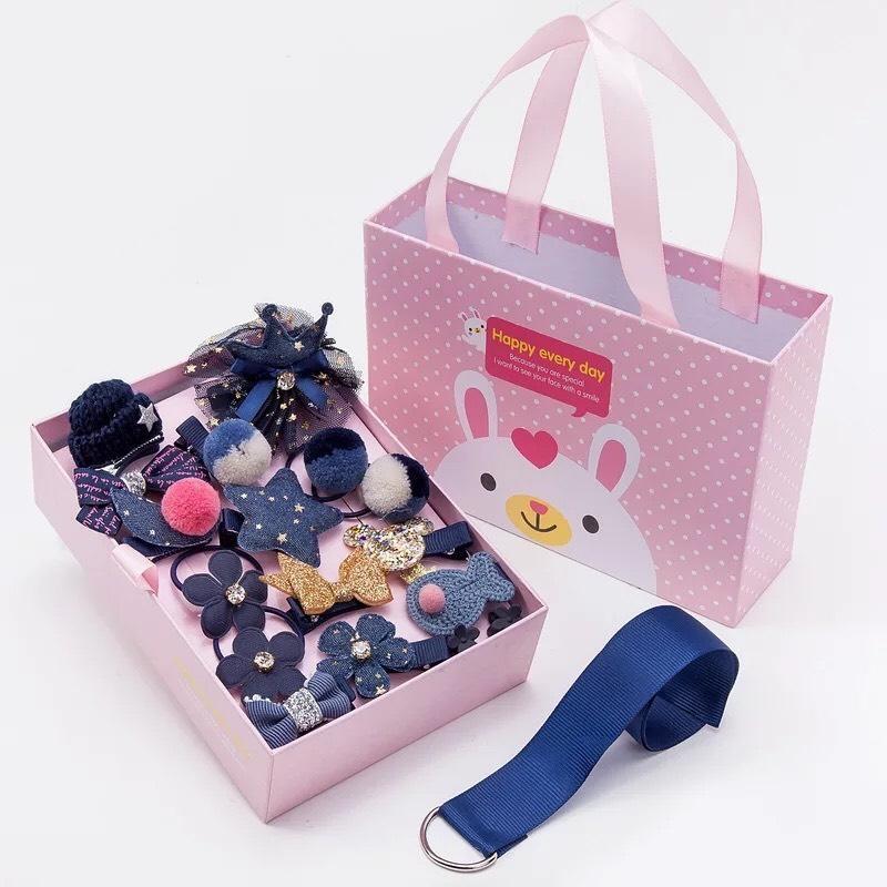 Hộp kẹp tóc cho bé gái 18 chi tiết kèm túi xách cho bé gái