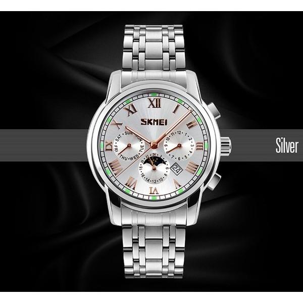 Đồng hồ nam Skmei 9121 mặt bạc