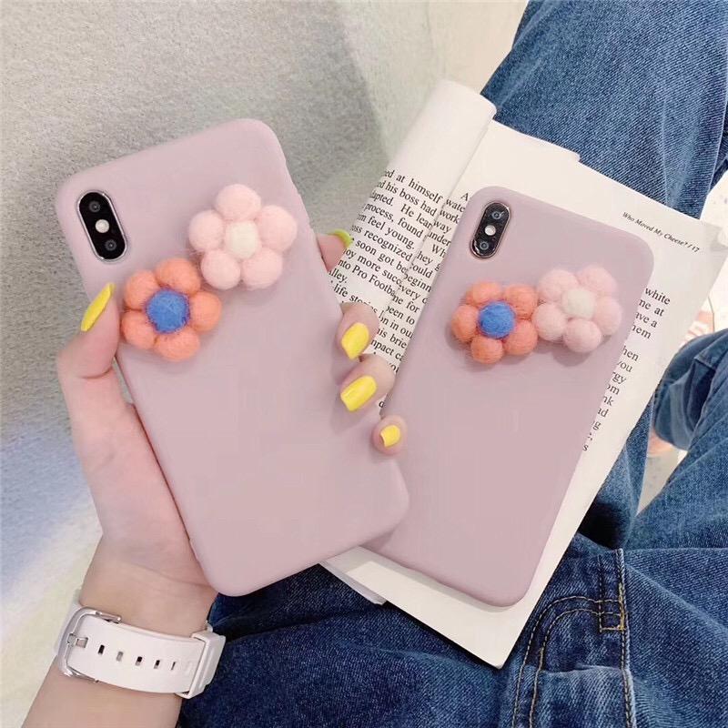 Ốp lưng màu trơn đính hoa trang trí cho iphone 6 7 8P X XS XR MAX