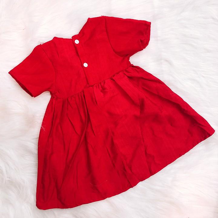Đầm xòe đỏ cotton phối ren đáng yêu cho bé 1-7 tuổi chất nhẹ mát họa tiết đơn giản nhẹ nhàng Baby-S - SD067