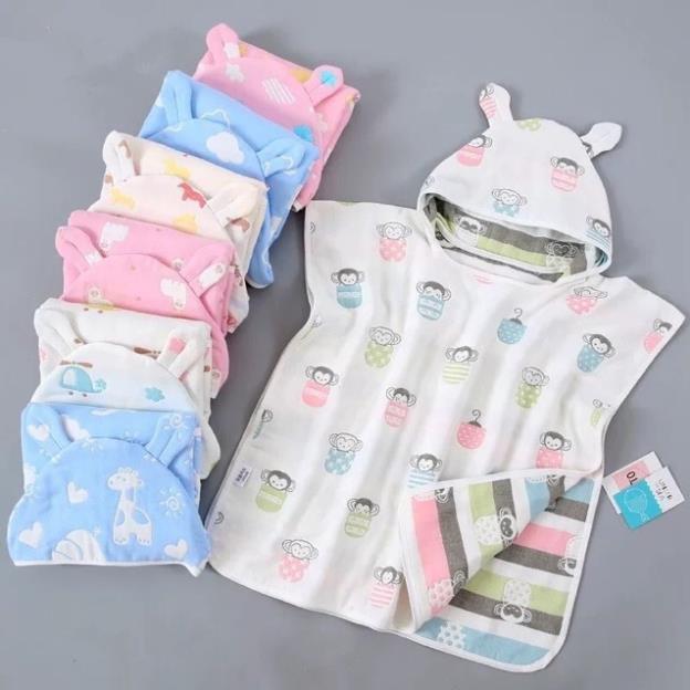 Babycity Khăn tắm có mũ cho bé khăn choàng tắm cotton khăn tắm xô đồ dùng cho bé
